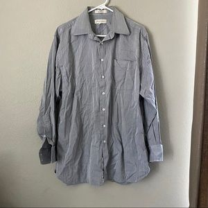 Nordstrom Gray white button up shirt size 16 1/2